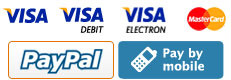 Pay by Paypal, credit cards or by mobile